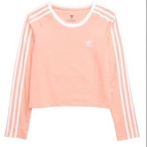 ADIDAS 3-stripes Long Sleeve Crop Top Pink & White